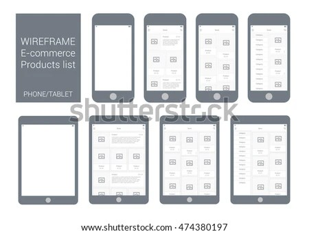 Wireframe Mobile Tablet App UI Kit Stock Vector (Royalty Free