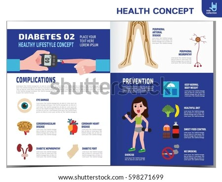 Woman Diabetes Diabetic Infographics Elements Medical Stock Vector