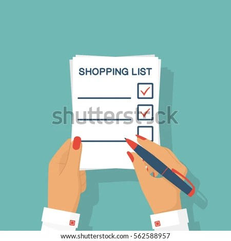 Woman Hands Paper Sheet Shopping List Stock Vector (Royalty Free