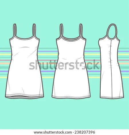 Womens Dress Front Back Side Views Stock Vector (Royalty Free