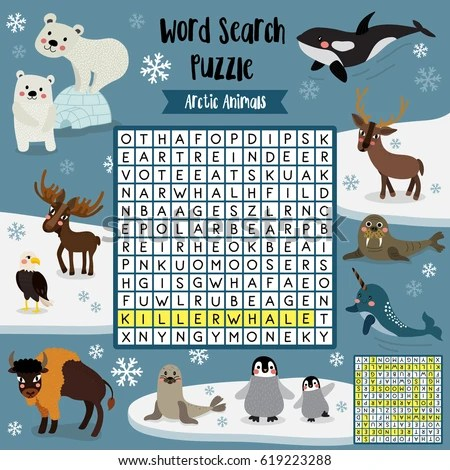 Words Search Puzzle Game Arctic Animals Stock Vector (Royalty Free