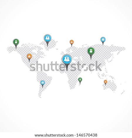 World Map Pins Stock Vector Stock Vector (Royalty Free) 146570438