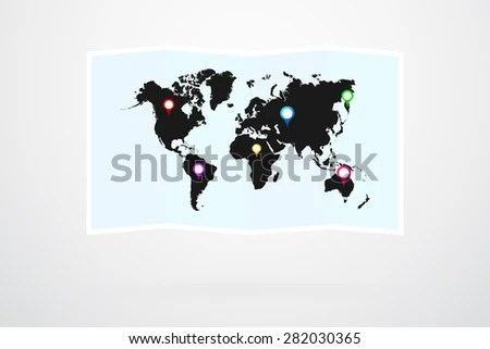 World Map Vector Map Pins Stock Vector (Royalty Free) 282030365