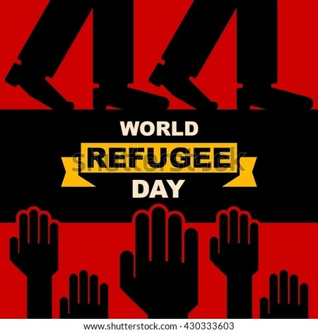 World Refugee Day Campaign Poster Refugee Stock Vector (Royalty Free