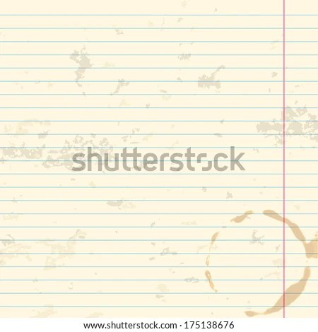 Worn Writingbook Lined Paper Background Coffee Stock Vector (Royalty