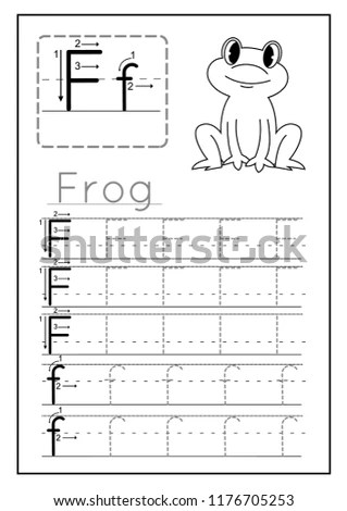 Writing Practice Letter F Printable Worksheet Stock Vector (Royalty