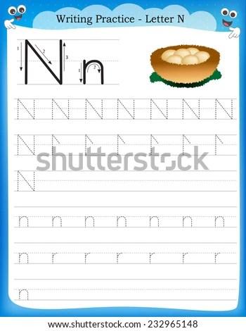 Writing Practice Letter N Printable Worksheet Stock Vector (Royalty