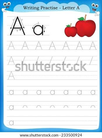 Writing Practice Letter Printable Worksheet Preschool Stock Vector