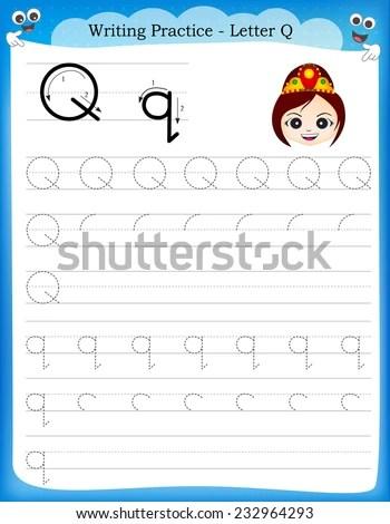 Writing Practice Letter Q Printable Worksheet Stock Vector (Royalty