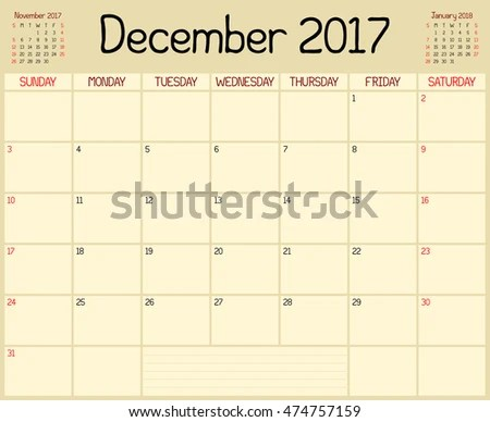 Year 2017 December Planner Monthly Planner Stock Vector (Royalty