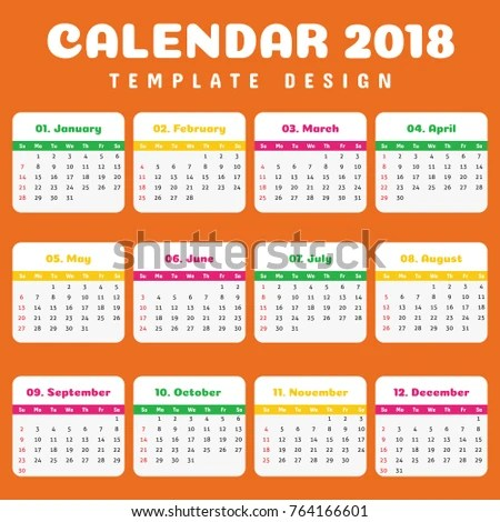 Year 2018 Calendar Simple Clean Template Stock Vector (Royalty Free