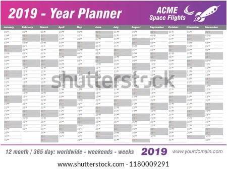Year Planner Calendar 2019 Vector Annual Stock Vector (Royalty Free