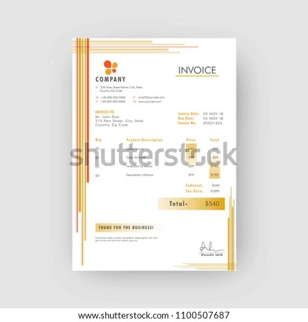 Yellow Corporate Invoice Estimate Template Stock Vector (Royalty