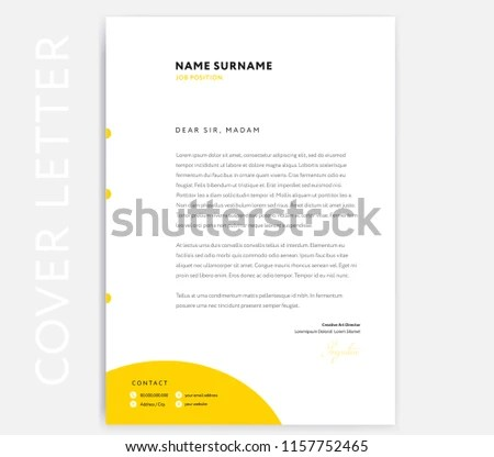 Yellow CV Cover Letter Template Design Stock Vector (Royalty Free