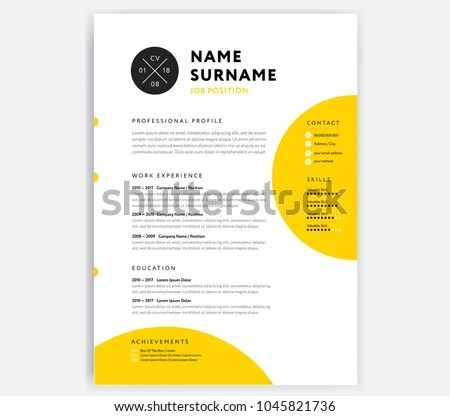 Yellow CV Resume Template Curriculum Vitae Stock Vector (Royalty