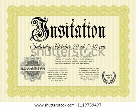 Yellow Formal Invitation Template Background Customizable Stock