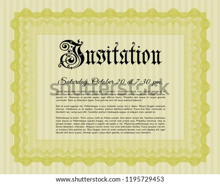 Yellow Formal Invitation Template Detailed Guilloche Stock Vector