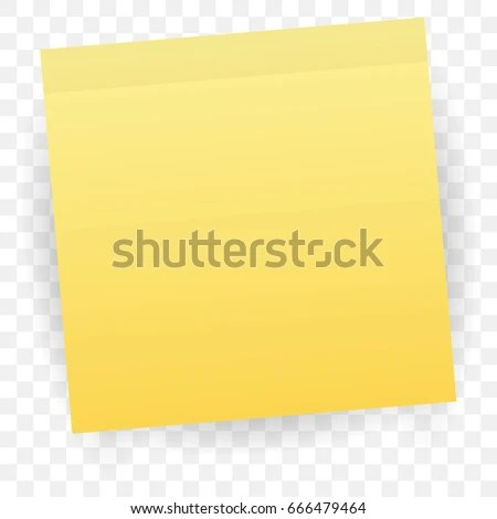 Yellow Sticky Note Isolated On Transparent Stock Vector (Royalty