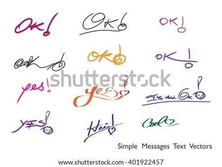 Yes Hei OK Cool Handwritten Words Stock Vector (Royalty Free