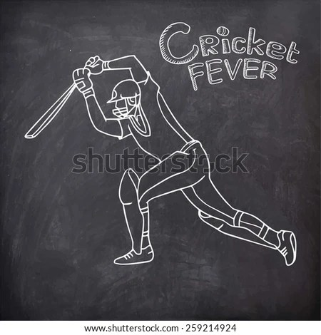 Young Batsman Playing Action Text Cricket Stock Vector (Royalty Free