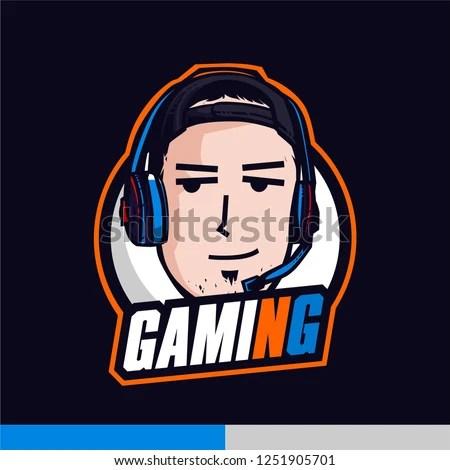 Youtuber Gaming Mascot Logo Template Funny Stock Vector (Royalty