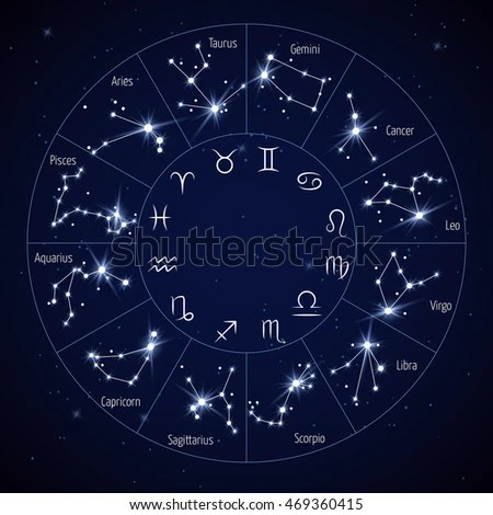 Zodiac Constellation Map Leo Virgo Scorpio Stock Vector (Royalty