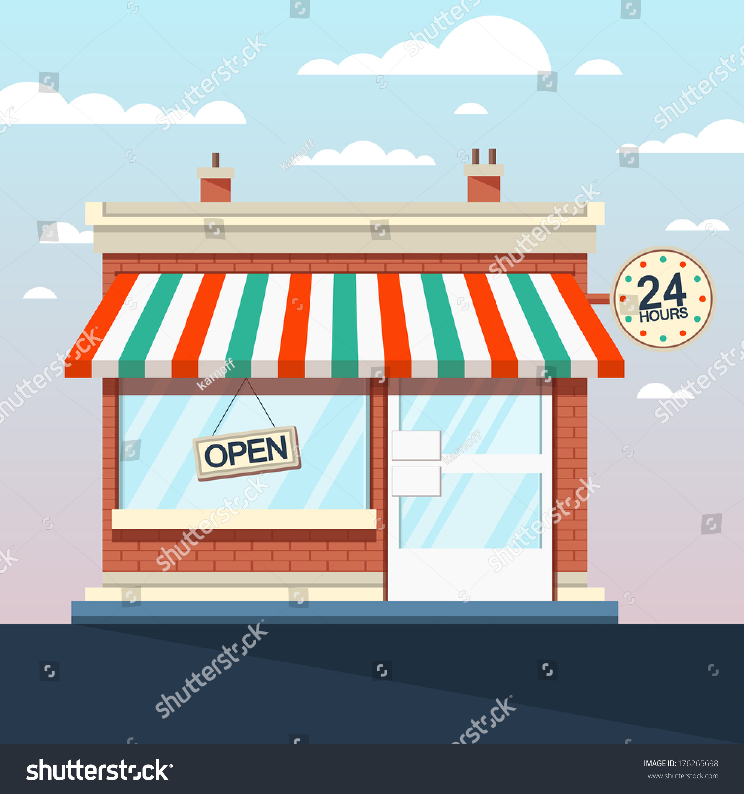 Store En Stock Vector Detailed Shop Market Store Stock Photo 176265698