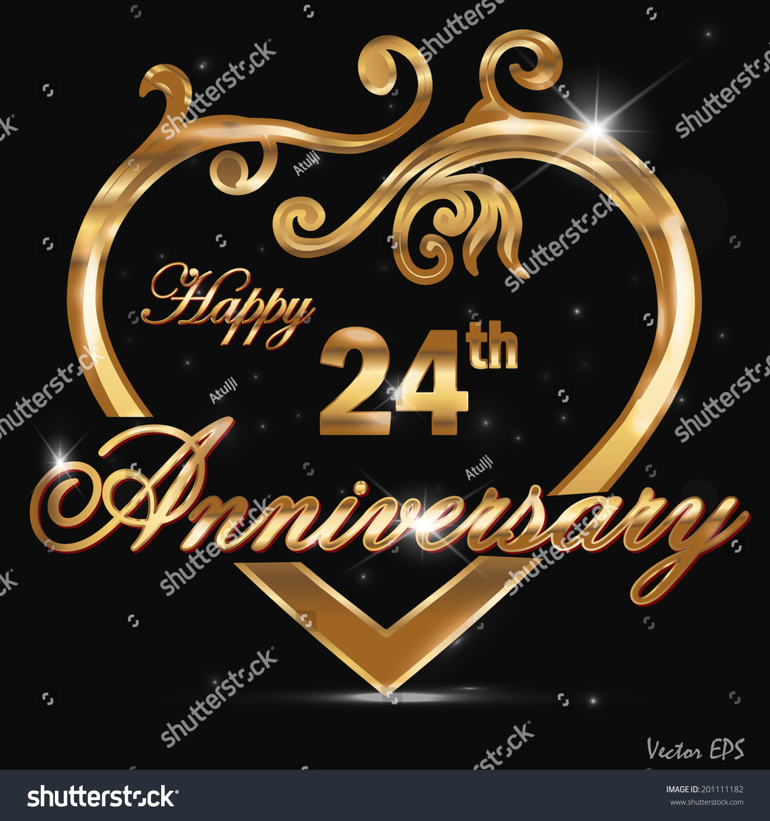 24 Year Anniversary Golden Label 24th Royalty Free Stock Vector 201111182 Avopix Com