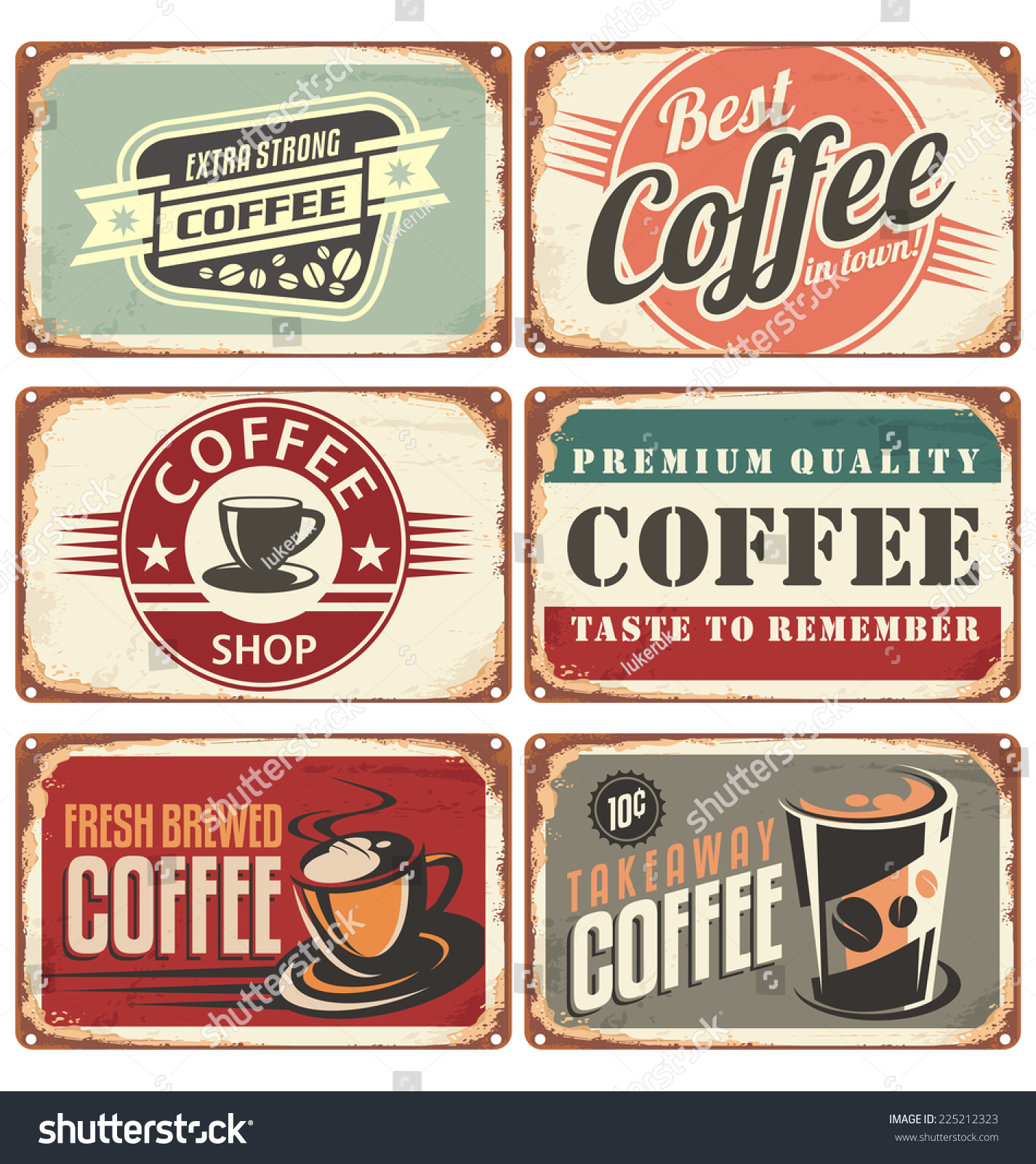 Vintage Café Set Of Vintage Cafe Tin Signs Retro Stock Photo 225212323