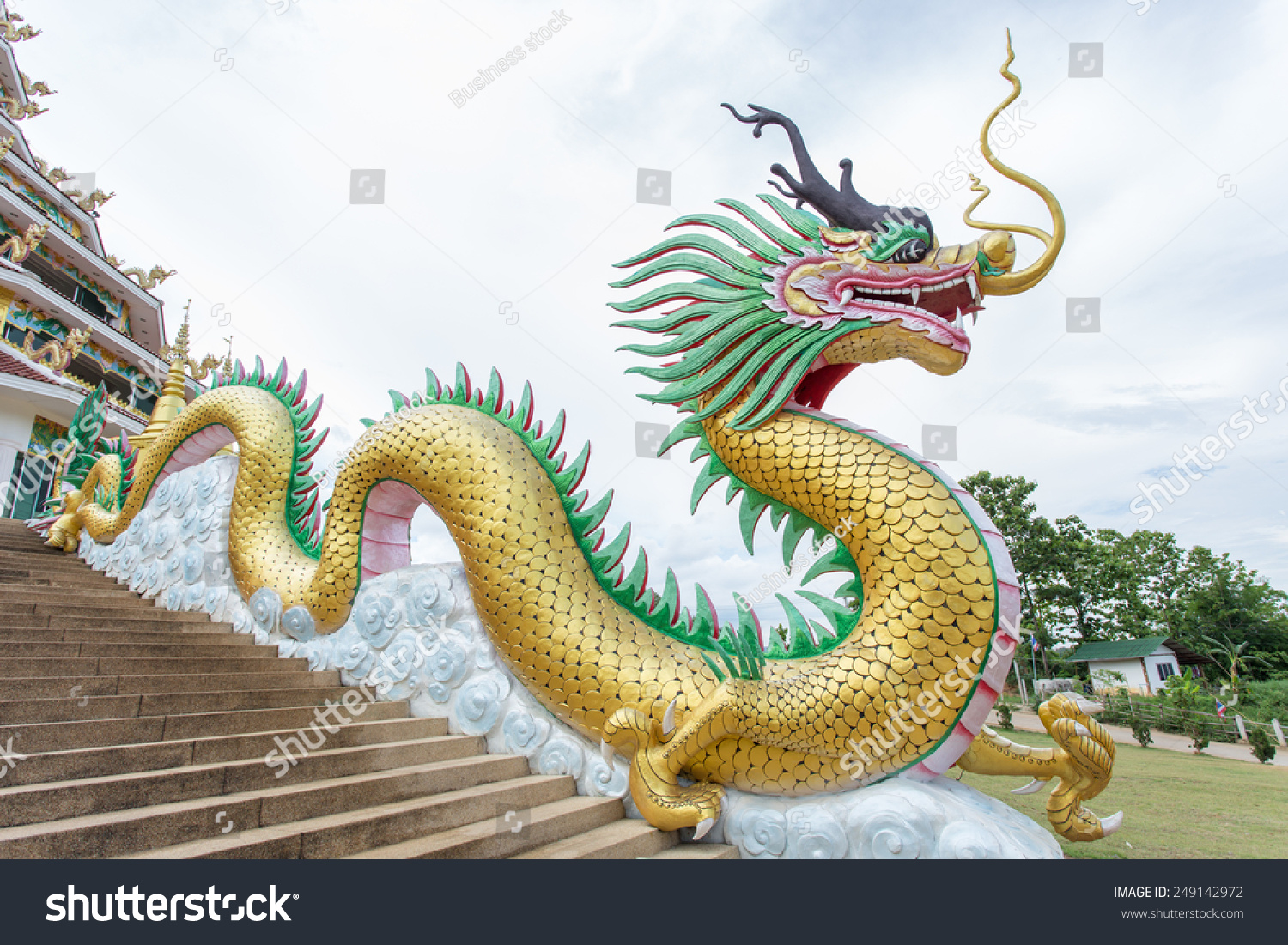Giant Dragon Statue Royalty Free Giant Chinese Style Dragon Statue 249142972 Stock