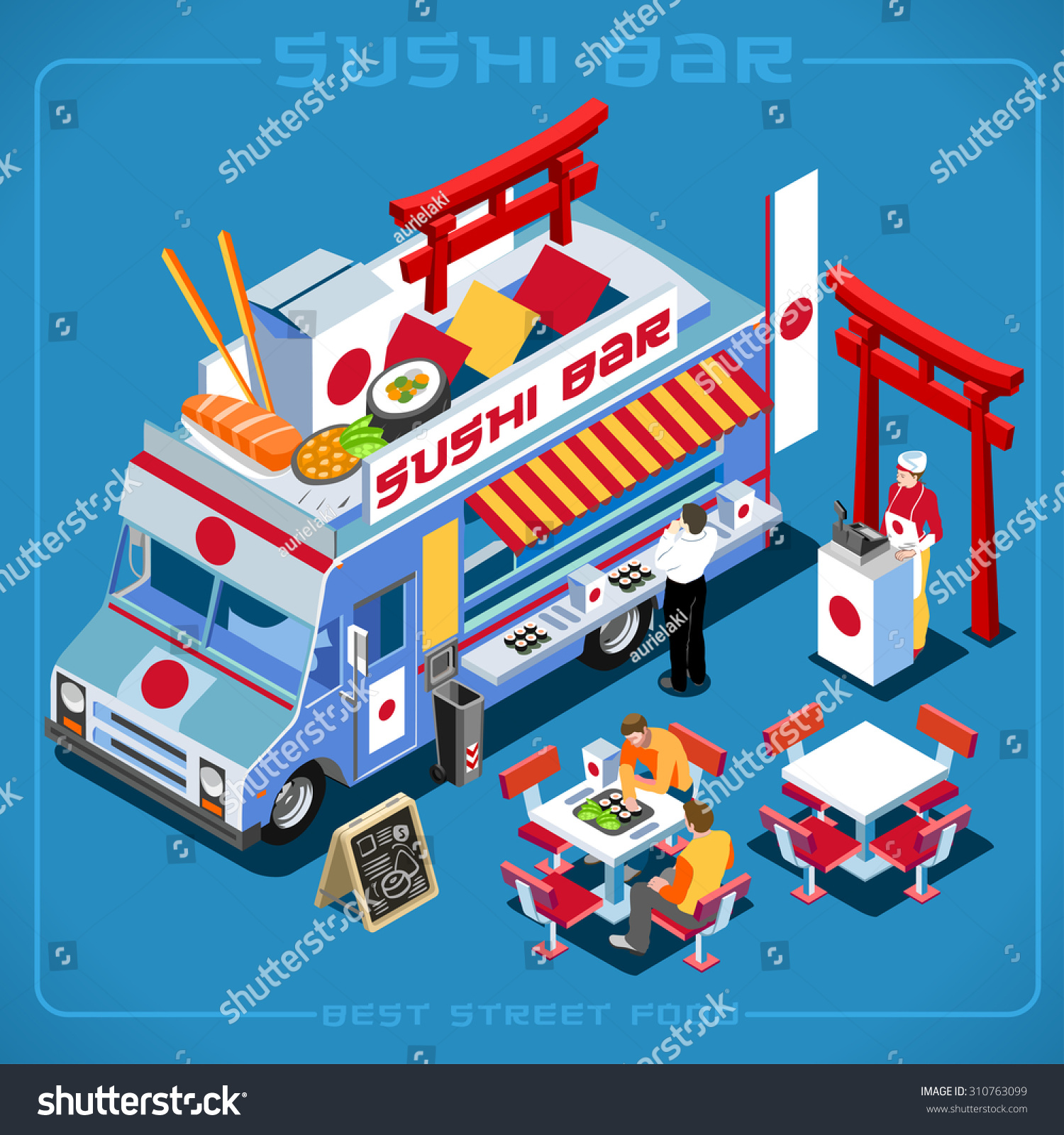 Japanese Cuisine Food Truck Royalty Free Japanese Wok Wasabi Sushi Food Truck
