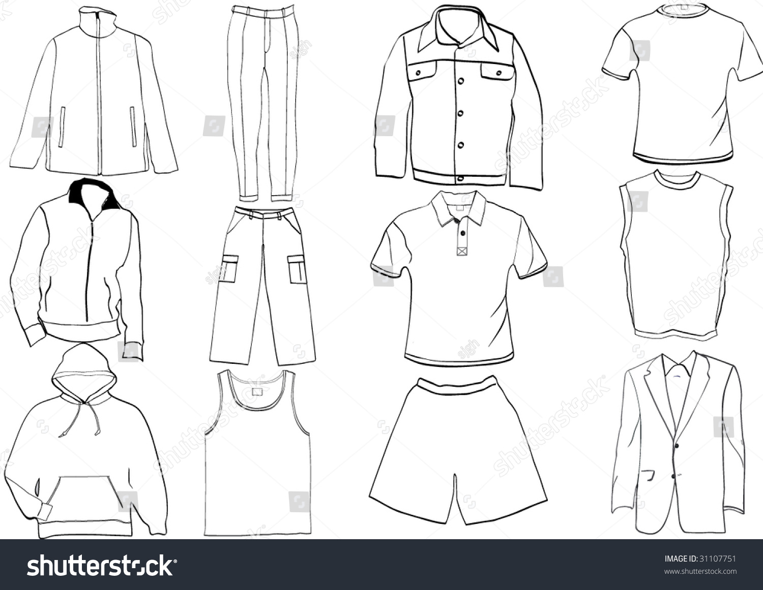 Royalty Free Clothes Template Collection 31107751 Stock