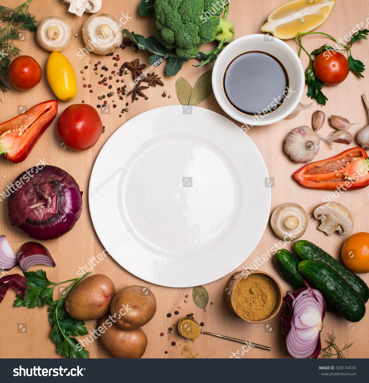 Plate With Food Top View Royalty Free Colorful Ingredients For Cooking On