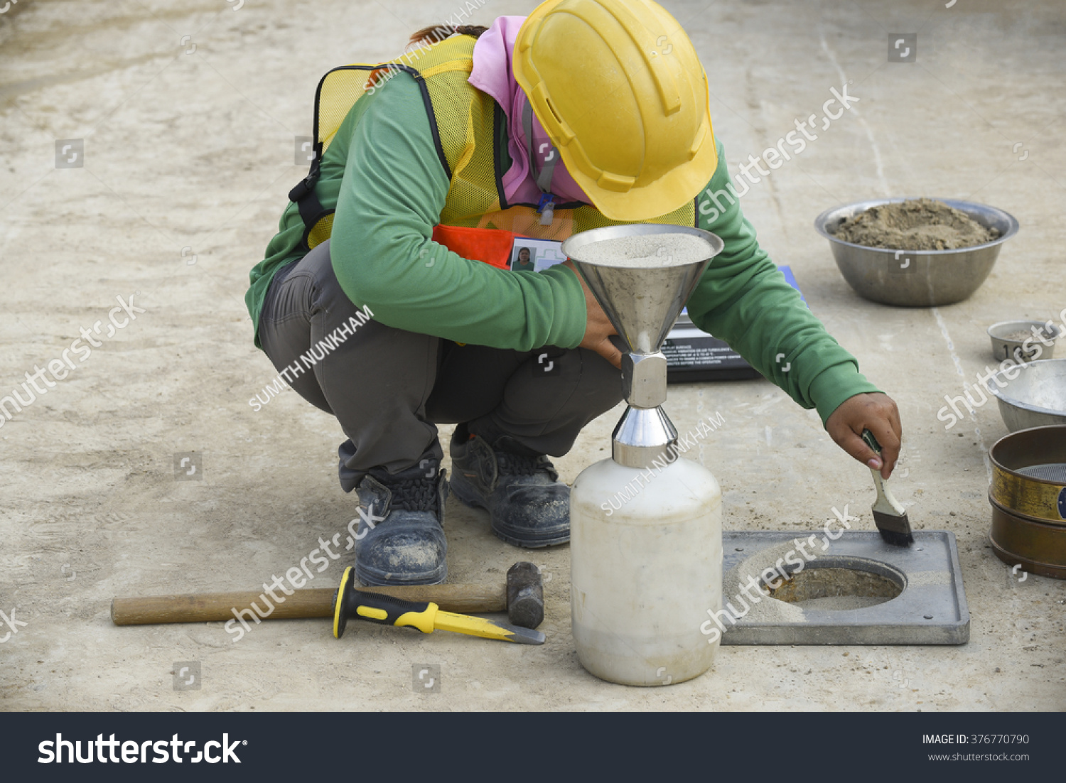 Density Testing Royalty Free Labor Using Equipment For Testing 376770790 Stock