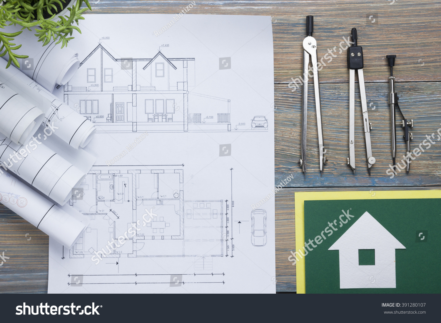 Vintage Architectural Blueprints Royalty Free Real Estate Concept Architectural 391280107 Stock
