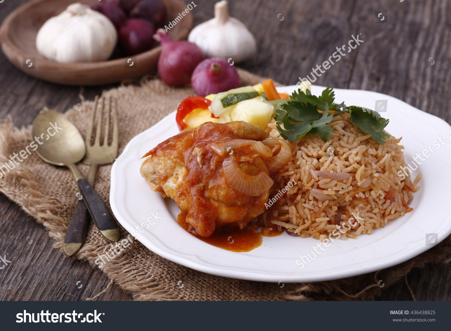 Background Masak Royalty Free Traditional Asian Tomato Nasi Rice With 436438825