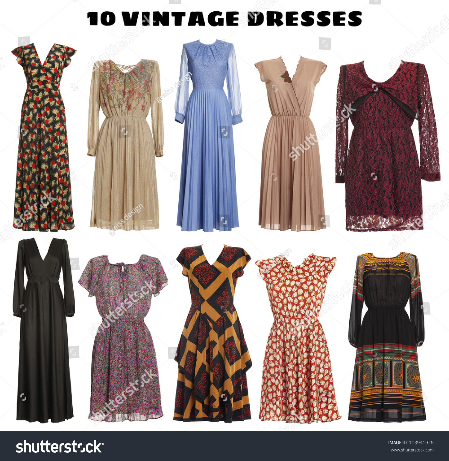 Vintage Look 10 Beautiful Dresses Isolated Vintage Look Stock Photo (edit Now) 103941926