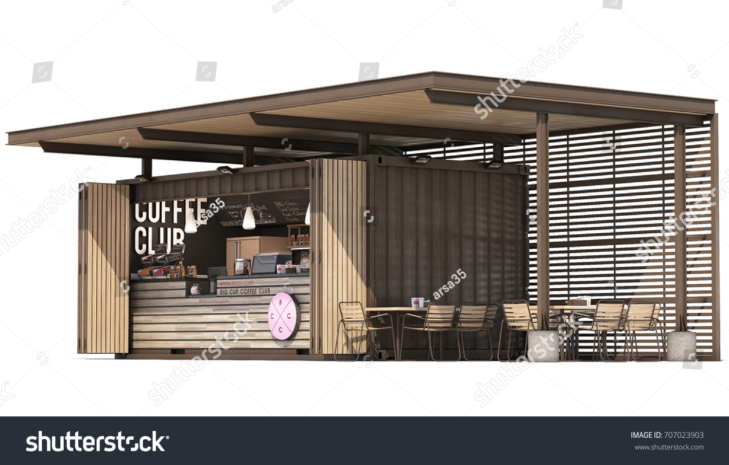 3d Boor 3 D Rendering Container Cafe On White Stock Illustration 707023903