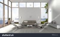 3d Rendering Living Room Glass Front Stock Illustration ...