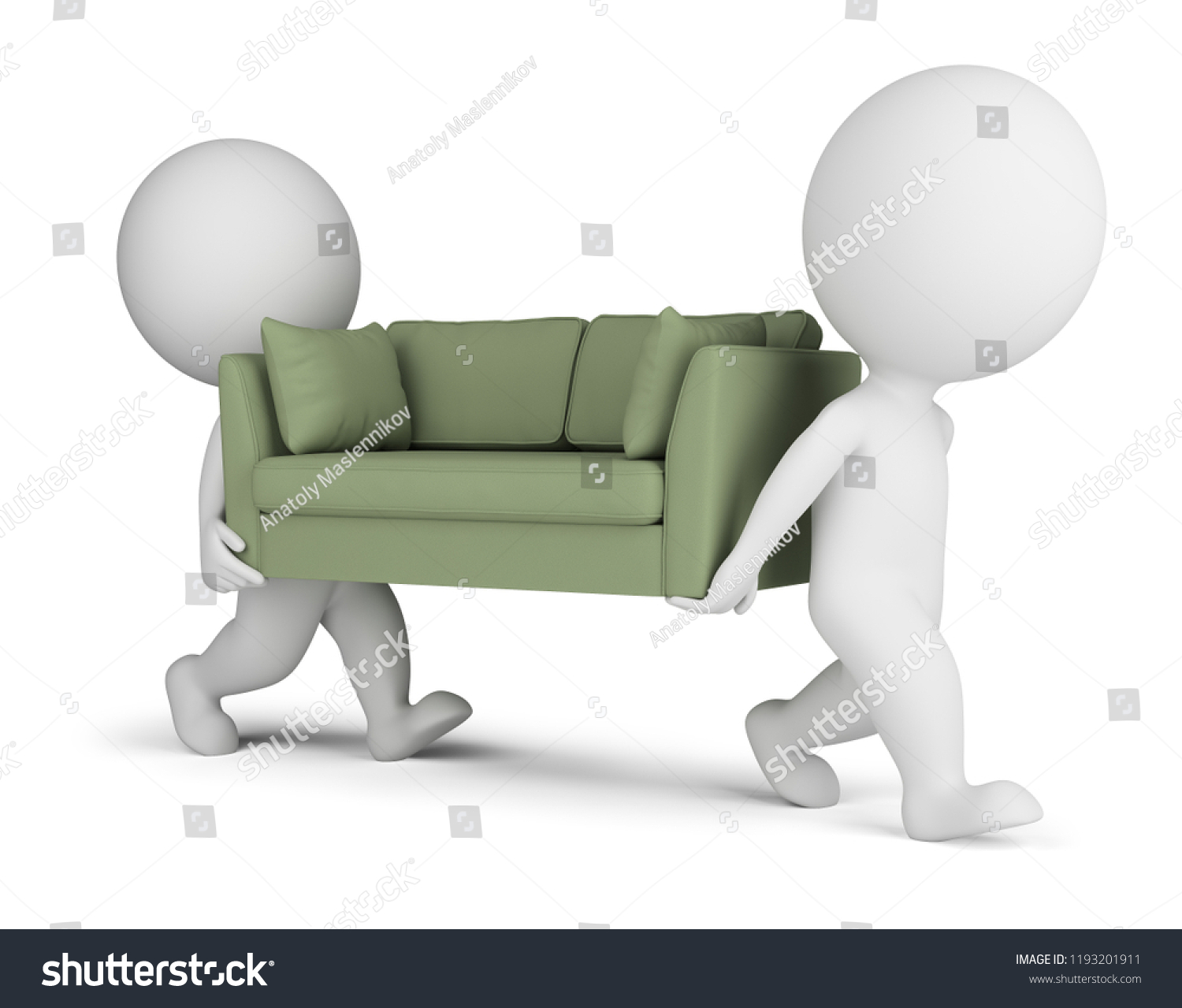 Anatol 3 Seater Retro Sofa 3 D Small People Carry Sofa 3 D Stock Illustration 1193201911