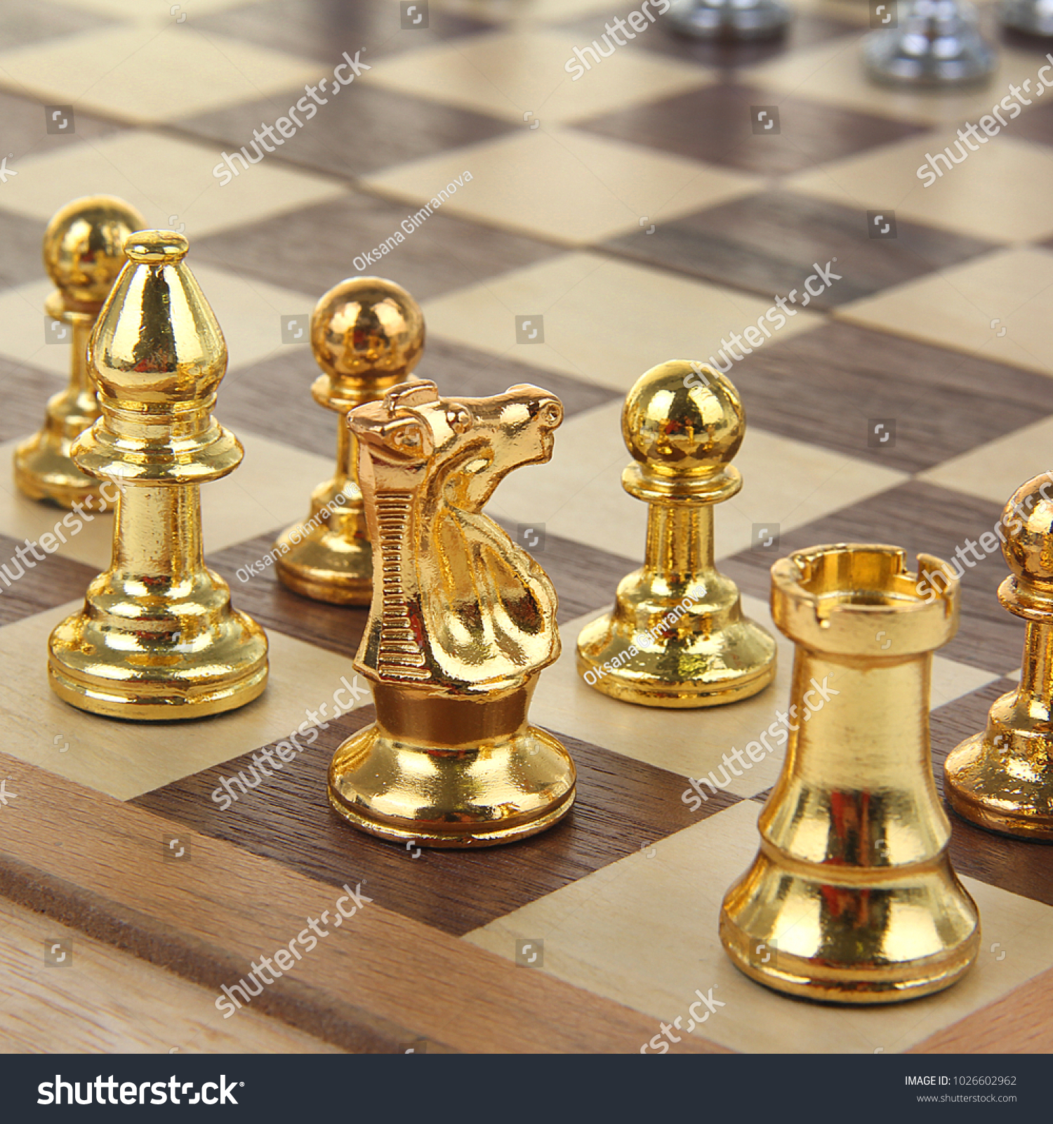 Gold Chess Pieces Gold Silver Chess Pieces On Chessboard Stock Photo Edit Now