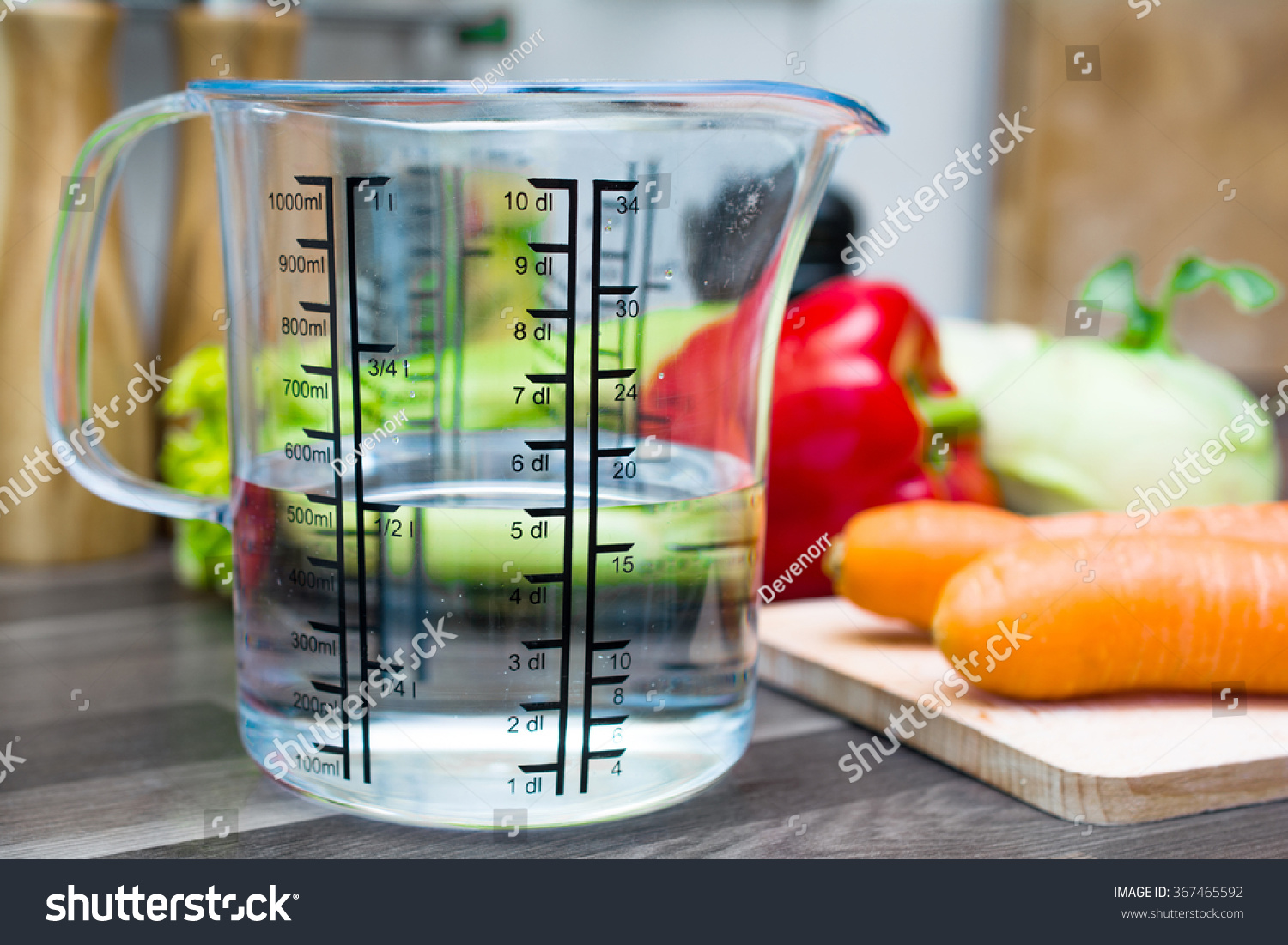 Dl Naar Ml 12 Liter 500 Ml 5 Dl Water Measuring Stock Photo Edit Now