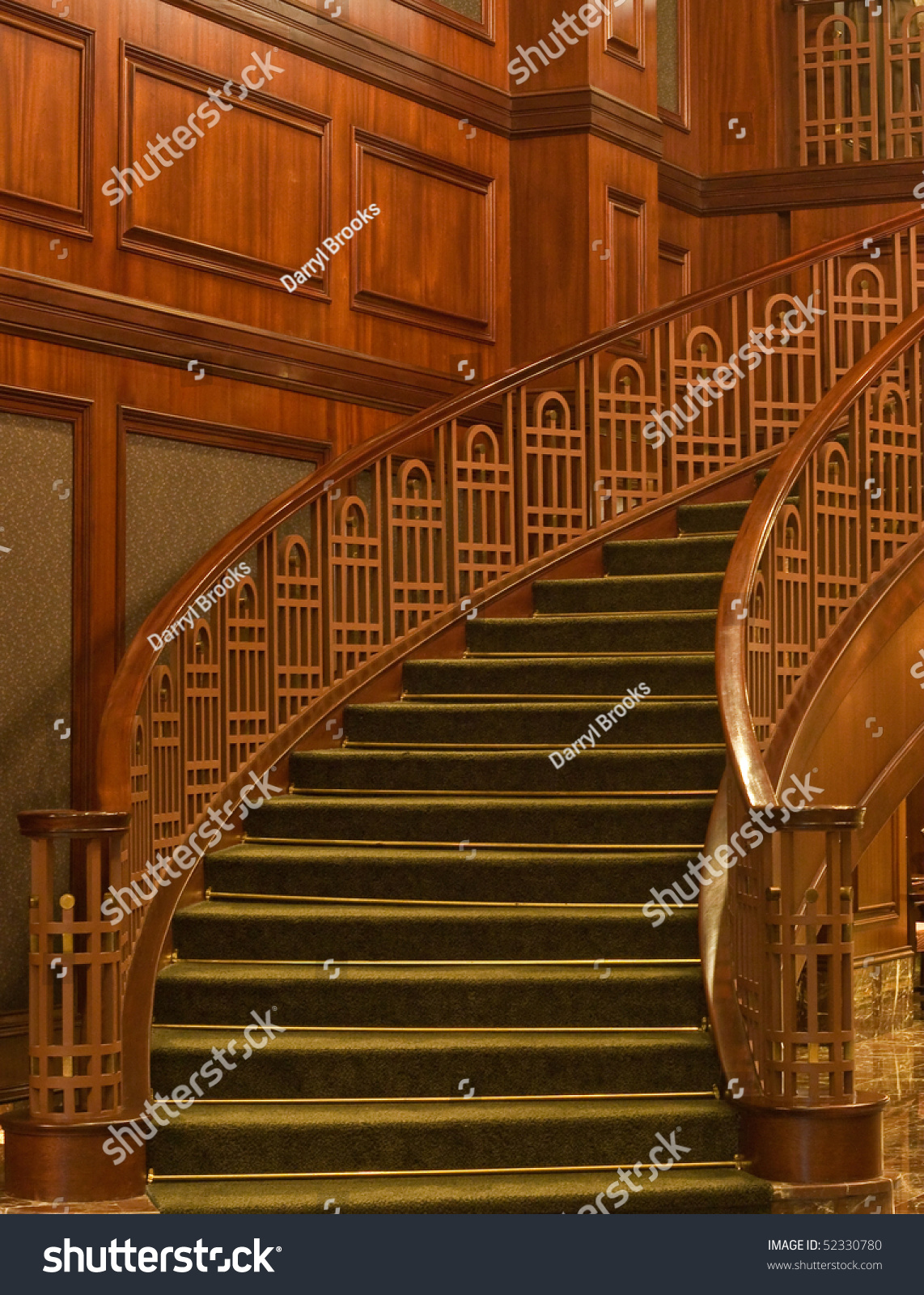 Paneled Staircase Curved Staircase Wood Paneled Office Green Stock Photo