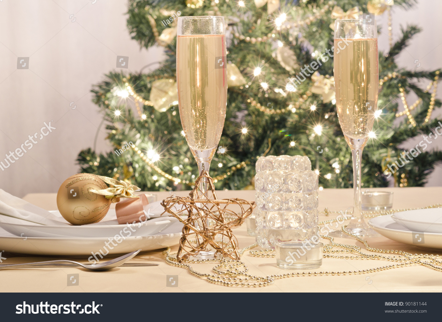 Christmas Tables Decorated A Decorated Christmas Dining Table With Champagne Glasses