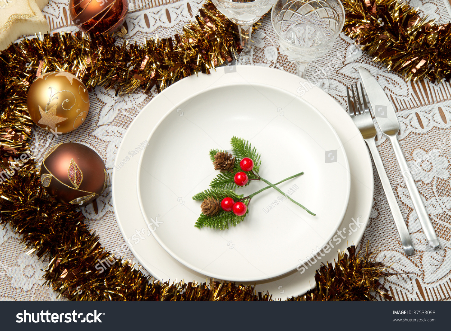 Christmas Tables Decorated A Decorated Christmas Table Stock Photo 87533098