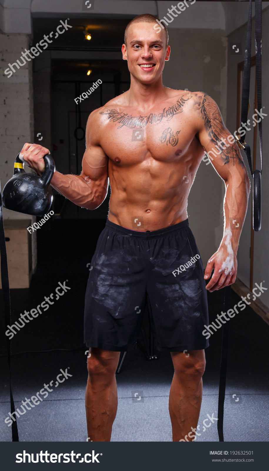 Kettlebell Bodybuilding Muscled Tattoed Man Kettlebell Stock Photo Edit Now 192632501