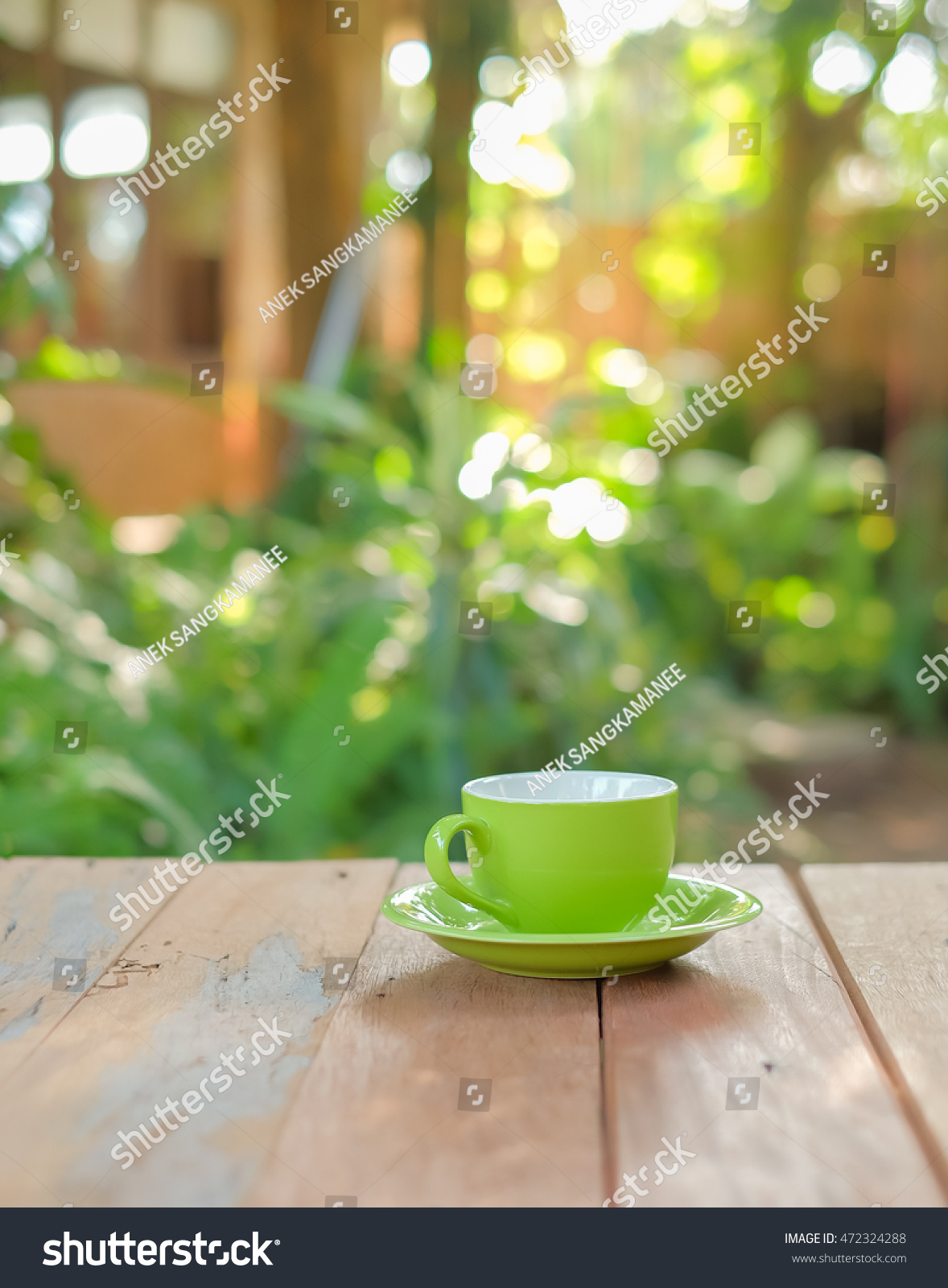 Bru Coffee Green Garden Selective Focus Picture Cup Coffee On Stockfoto 472324288