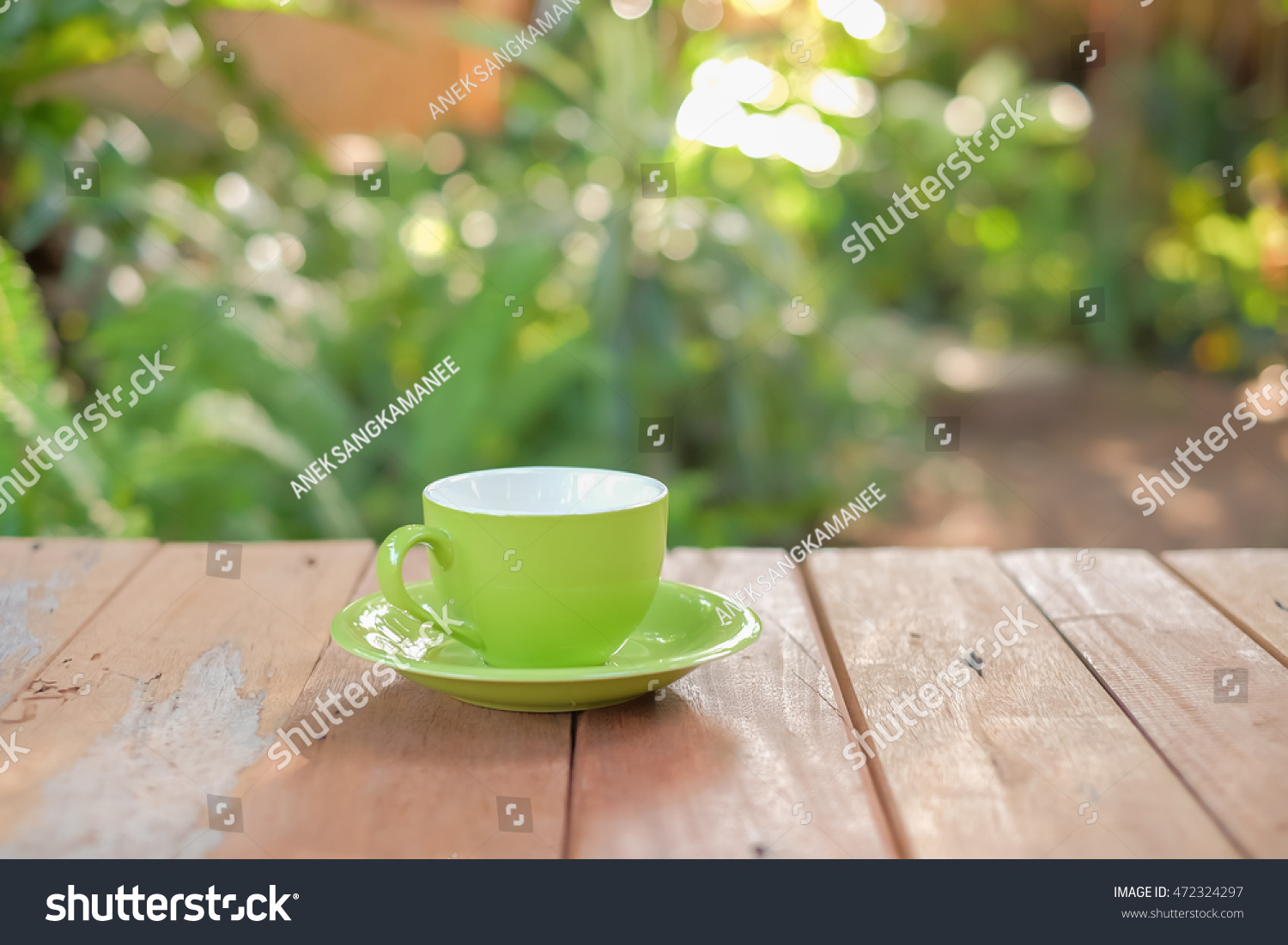 Bru Coffee Green Garden Selective Focus Picture Cup Coffee On Stockfoto 472324297