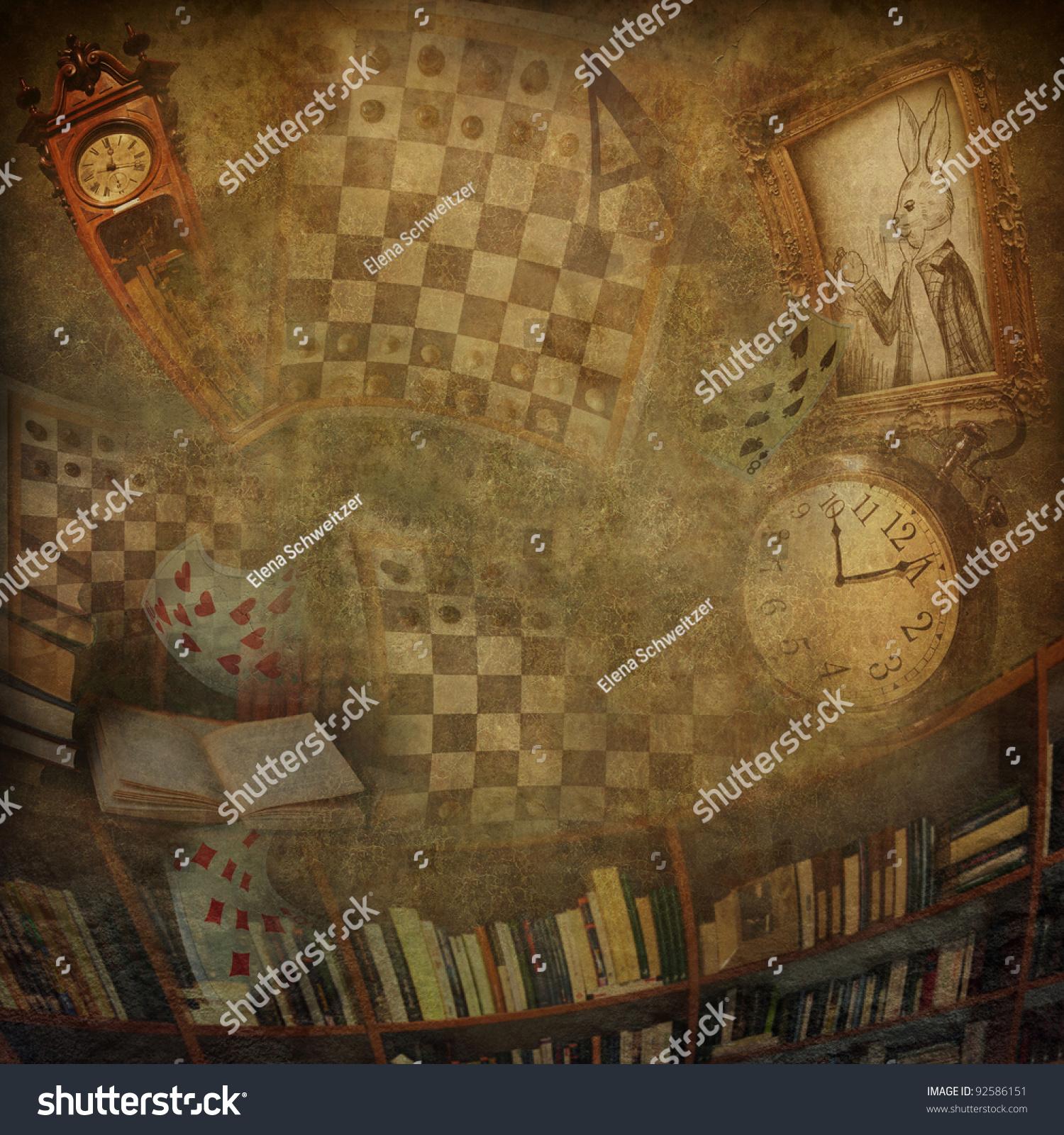 Falling Down The Rabbit Hole Wallpaper Abstract Background Novel Alice Wonderland Stock Photo