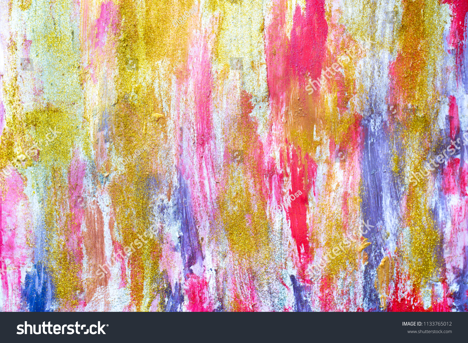 Bright Colours Painting Abstract Streams Paints On Wall Modern Stock Illustration